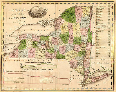 "1833 Map, NEW YORK, NY State, antique decor, America. 20""x16"" quality print"