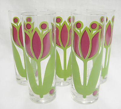 Vintage Colony Iced Tea Glasses Tulip Design Lot of 5 Purple & Green Very Good