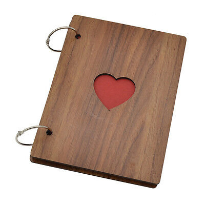 Wooden Handmade Photo Albums Ring Binder Album Hollow Out Heart Lovers Memory