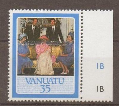 VANUATA SG488a 1987 RUBY WEDDING 35c OVPT INVERTED MNH