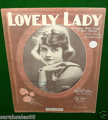 """""""Lovely Lady"""" A Dainty Waltz Song, Wood Terriss & Rupp Vintage Sheet Music ©1924"""