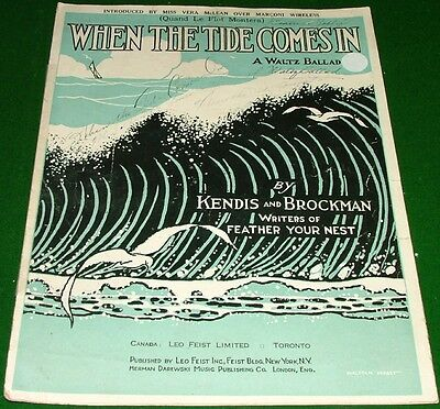 When the Tide Comes In, Quand Le Flot Montera, 1921 Sheet Music, No Tape