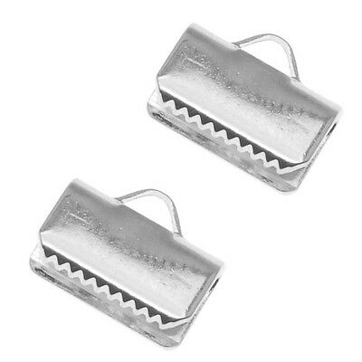Silver Plated Ribbon Pinch Crimps Ends 3/8 Inch  (X20)