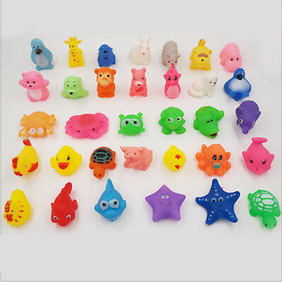 Cute Animals Kids Toy Soft Rubber Float Sqeeze Sound Baby Wash Bath Swimming Toy