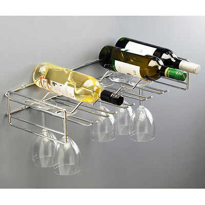 Wine Rack Wall Mounted Holder Storage Metal Shelf Holds 6 Bottles & 15 Glasses