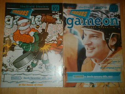 2 X Sheffield Steelers V Cardiff Devils Ice Hockey 1990's