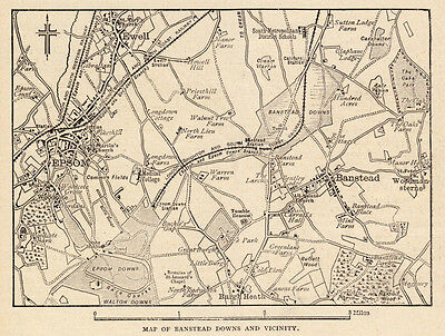 London Map of Banstead Downs 1880s antique engraving ready mounted  SUPERB