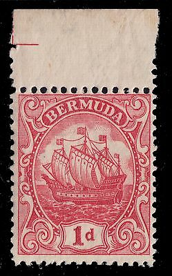 1934  BERMUDA 1 D CARMINE TYPE III WITH LABEL  NEVER HINGED SCT, 83 SG, 79a