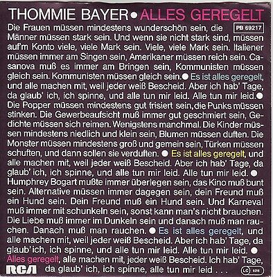 """""""7"""" - THOMMIE BAYER - Alles geregelt - diff. Cover"""