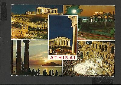 Vintage Multi View Colour Postcard  Athens by Night Greece unposted