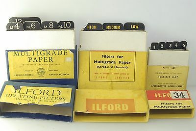 3x Vintage ILFORD MULTIGRADE FILTER Packs 1940s? 1950s? 1960s? 13x filters