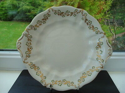 Royal Crown Derby Porcelain Green Flowers Pattern Cake Plate, 1st Quality