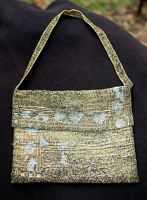 1920's Vintage Gold & Silve Beaded Flapper sm. handle Bag/Purse-great condition