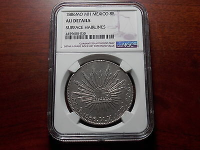 1886 Mexico 8 Real silver coin NGC AU