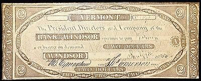 1838 Bank of Windsor Vermont $2 Reproduction Note - Free Combined Shipping