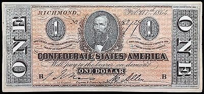 1864 Confederate States of America $1 Reproduction Note - Free Combined Shipping