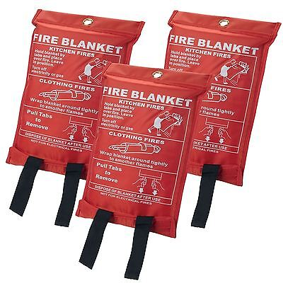 3 x Quick Release Home & Office Safety Fire Blanket 1m x 1m