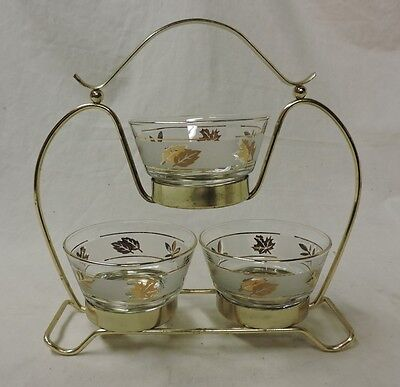 Vintage Mid Century LIBBY FROSTED GOLD LEAVES Leaf 3 BOWL CONDIMENT SET RACK