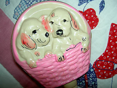 DARLING 1930 vintage unusual, PUPPY Dogs in basket, celluloid baby doll rattle