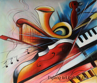 Modern Art Music abstract Oil Painting on Canvas Living Room Decor Handmade 2185