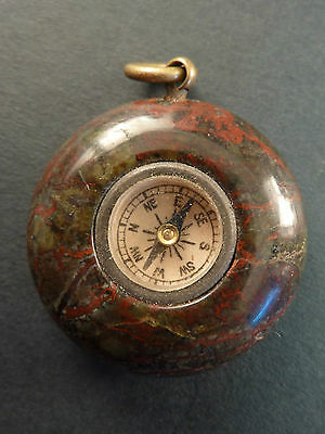 Serpentine Marble Watch Chain Fob Compass
