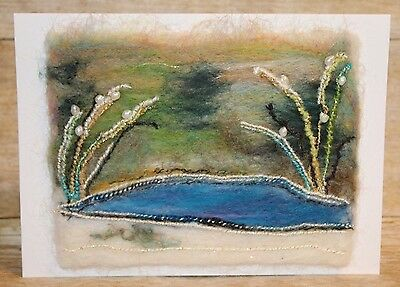 Needle felted Winter Pond Greeting Card freshwater pearls Melissa Philbrook