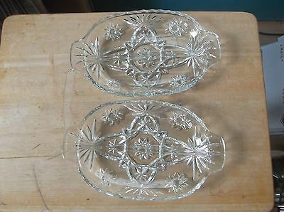 Two Vintage Anchor Hocking Early American Prescut Divided Dishes EAPC