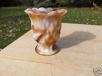Retro Carmel Slag Glass Toothpick Holder with a Diamond Design