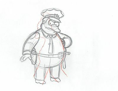 The Simpsons Chief Wiggum Original Animation Cell Drawing FOX 2*