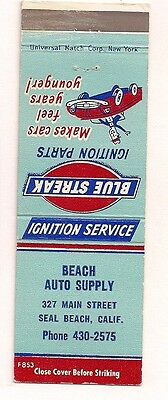 Beach Auto Supply 327Main St Seal Beach CA Blue Streak Ignition Parts Matchcover