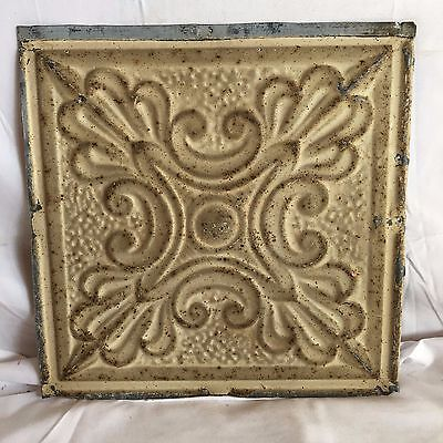1890's 12 x 12 Antique Tin Ceiling Tile Tan Metal Reclaimed Anniversary 137-17