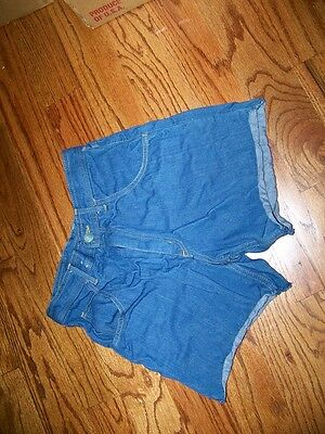 "vintage 80s HIGEAR Denim BLUE Jean SHORTS 27"" Waist High Rise Cutoffs 4"" inseam"