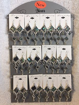 Lot of 12 Abalone Earrings Complete With Display New Wholesale Jewelry Closeout