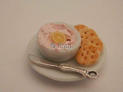 Dolls house food: Dish of taramaslata and crackers  -By Fran
