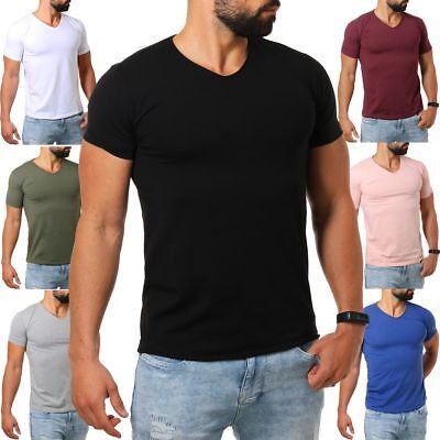 Young & Rich Herren V-Ausschnitt T-Shirt uni slimfit Stretch V-Neck Tee 1700