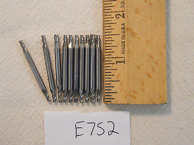 10 New 3 Mm Shank Carbide End Mills. 4 Flute. Double End. Usa Made E752
