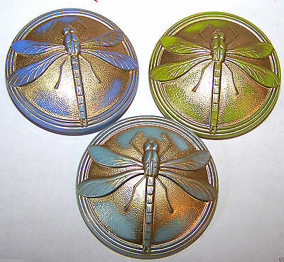 "3 pieces of VINTAGE CZECH DRAGONFLY GLASS BUTTONS - 1-3/4"" large"