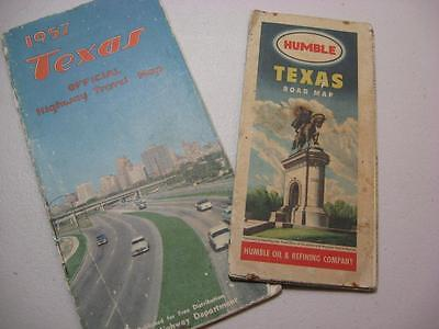 Texas Road maps oil company Humble 1950s well used see photos