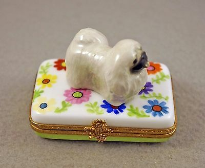 New French Limoges Trinket Box Pekingese Dog Puppy In Beautiful Garden