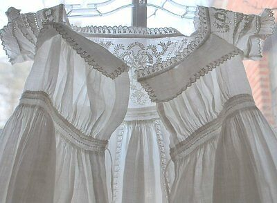 Victorian Christening Gown Aryshire Embroidery Full Length Gorgeous