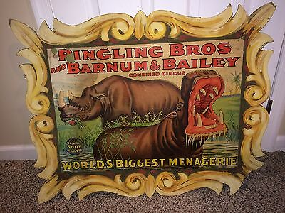 Vintage Ringling Bros And Barnum & Bailey Combined Circus Poster,Hippo,Rhino