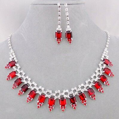 Silver Red and Crystal Rhinestone Necklace Set Silver Fashion Jewelry NEW