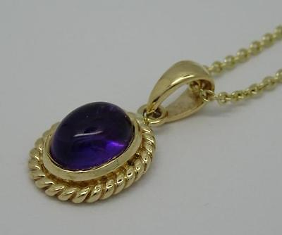 ***beautiful Antique Style 9Ct Yellow Gold Amethyst Pendant & Chain Necklace***