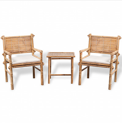 Garden Table And Chairs With Cushions Outdoor Bamboo Wooden 2 Seater Patio Set