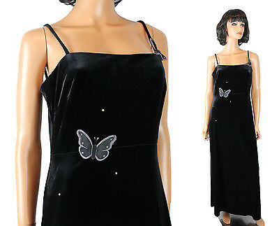 Stretch Velvet Cocktail Dress Sz M Long Sleeveless Black Butterflies Rhinestones