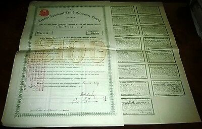 Canada 1891 Agricultural Coal&Colonization Company Bond £100+Coupons 1893/12#B3