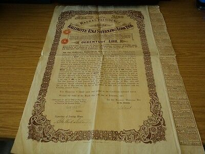 India 1906 Kalikote Raj Sterling Loan on £100-6% Interest Rate with Coupons #B12