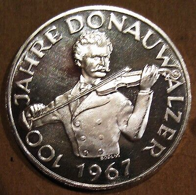 Proof Austria 1967 100Th Blue Danube Waltz Silver 50 Schilling Coin (Km#2902)