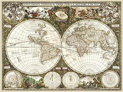 1660 Old World Historic Map Frederick de Wit  - 18x24