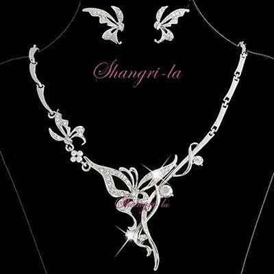 18K White GOLD GP BUTTERFLY Bridal NECKLACE SET with SWAROVSKI CRYSTAL 10812